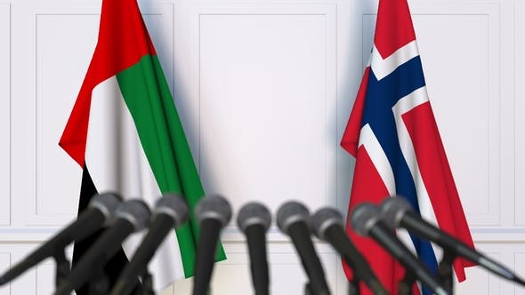 Thumbnail for Flags of the UAE and Norway at International Press Conference