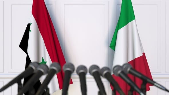 Thumbnail for Flags of Syria and Italy at International Press Conference