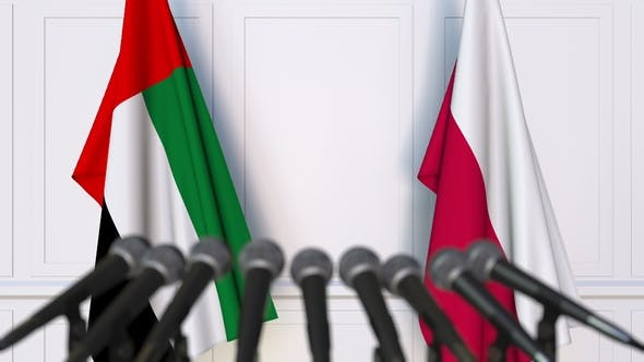 Thumbnail for Flags of the UAE and Poland at International Press Conference