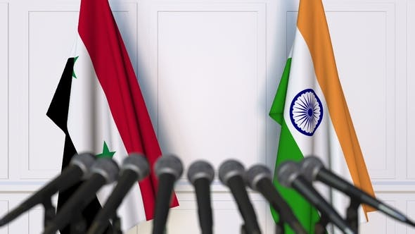 Thumbnail for Flags of Syria and India at International Press Conference