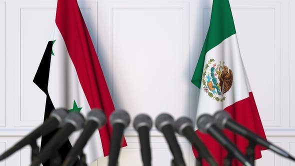 Thumbnail for Flags of Syria and Mexico at International Press Conference