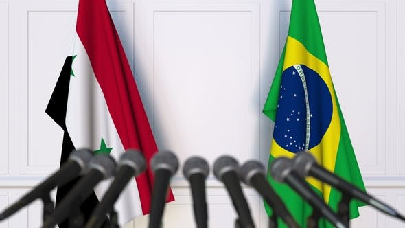 Thumbnail for Flags of Syria and Brazil at International Press Conference