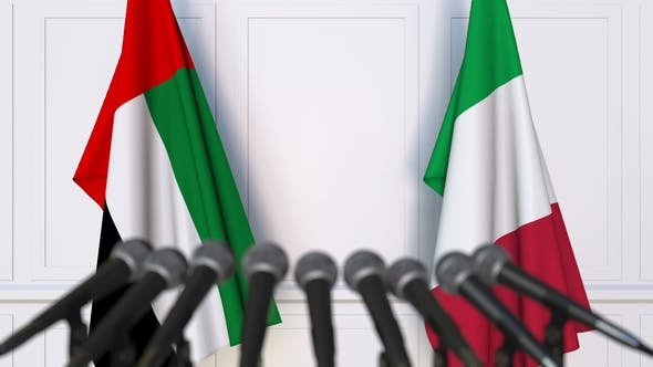 Thumbnail for Flags of the UAE and Italy at International Press Conference