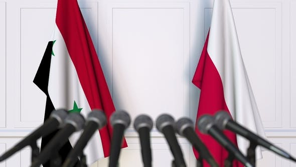 Thumbnail for Flags of Syria and Poland at International Press Conference
