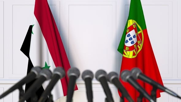 Thumbnail for Flags of Syria and Portugal at International Press Conference