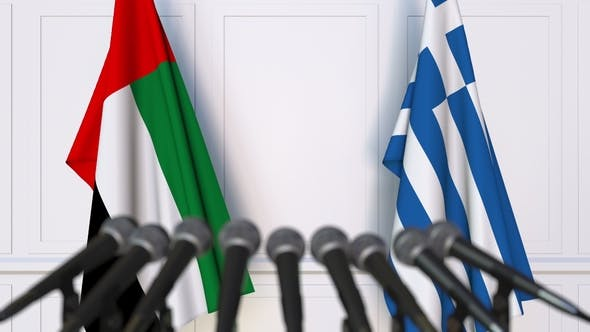 Thumbnail for Flags of the UAE and Greece at International Press Conference