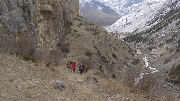 Thumbnail for Group of Hikers in a Narrow Canyon