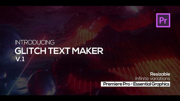 Thumbnail for Glitch Text Maker for Premiere Pro + Sound FX