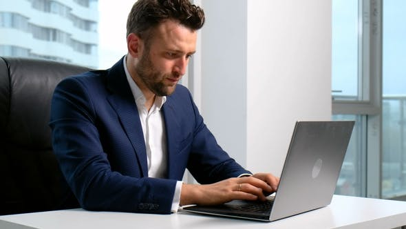 Thumbnail for Businessman Typing on the Laptop in Office