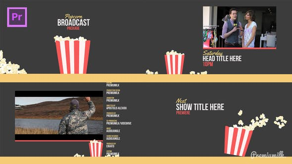 Thumbnail for Popcorn Broadcast Package Essential Graphics | Mogrt