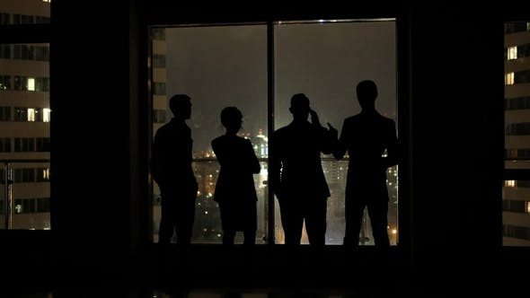 Thumbnail for Business Team Meeting in Office and Talk at Night