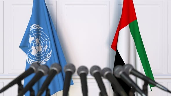 Thumbnail for Flags of the United Nations and the UAE at International Press Conference