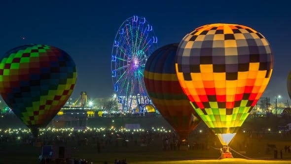 Thumbnail for Hot Air Balloons at Night on Balloon Festival. Astana, Kazakhstan - March 2018