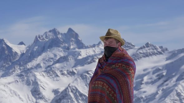 Thumbnail for Man in National Clothes Against the Background of Mountains