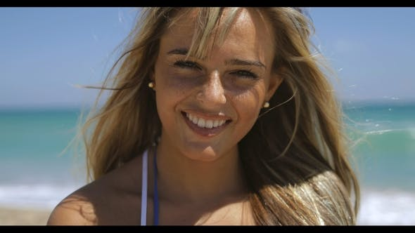 Thumbnail for Happy Blonde on Beach in Sunshine