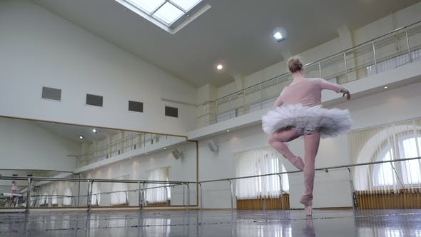 Thumbnail for Ballerina in White Ballet Tutu Dress Performing Pirouettes in Dance Studio or Gym. Graceful Woman