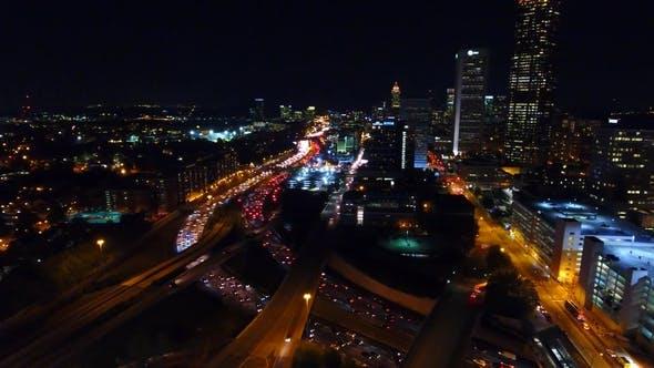 Thumbnail for Skyline of Night Atlanta with Freeway, Interchanges, Headlights, Backlights