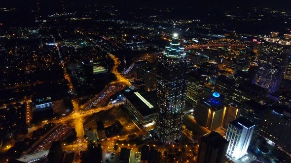 Thumbnail for Aerial Drone Footage of Atlanta at Night
