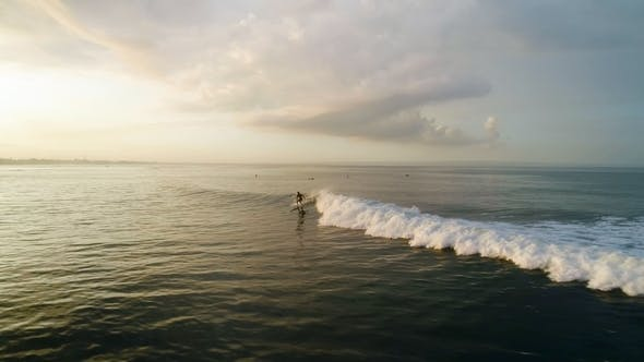 Thumbnail for Surfing: Surfer Man Riding on the Blue Waves