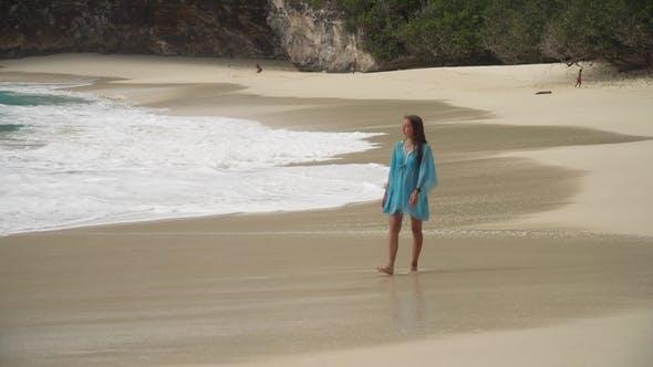 Thumbnail for Girl Walking on the Beach. Bali, Indonesia.