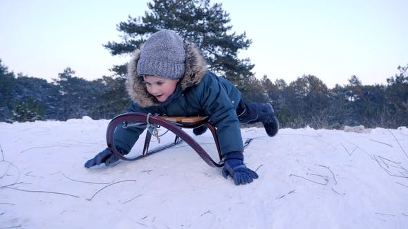 Thumbnail for Smiling Boy Lying on Sled Rides from Snow-covered Hill in Winter Forest
