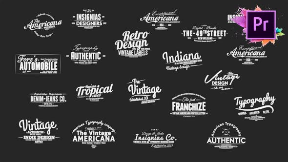 Thumbnail for Vintage Typography Pack 26 Animated Badges | Mogrt