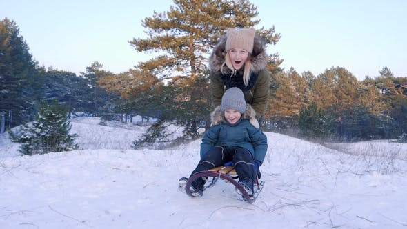 Cover Image for Mother Pushes Son on Sledge and He Rides from Hill in Winter Forest