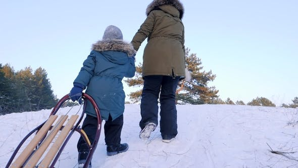 Thumbnail for Mom and Son Climb the Snow-covered Hill with Sledges in Hands