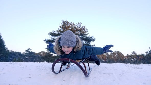 Thumbnail for Cheerful Boy with Raised Hands Lying on Sled and Rides from Snowy Hill in Winter Forest