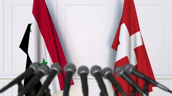 Thumbnail for Flags of Syria and Switzerland at International Press Conference