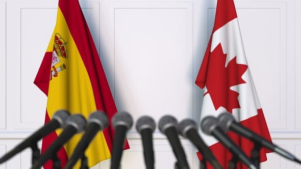 Thumbnail for Flags of Spain and Canada at International Press Conference