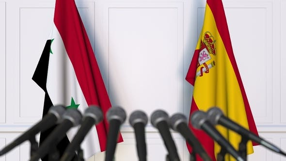 Thumbnail for Flags of Syria and Spain at International Press Conference