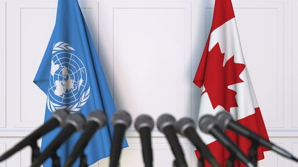 Thumbnail for Flags of the United Nations and Canada at International Press Conference