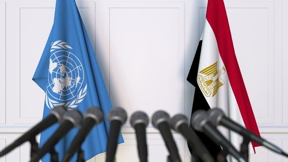 Thumbnail for Flags of the United Nations and Egypt at International Press Conference