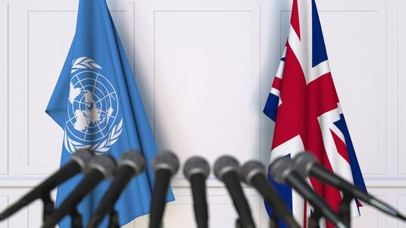 Thumbnail for Flags of the United Nations and The United Kingdom at International Press Conference