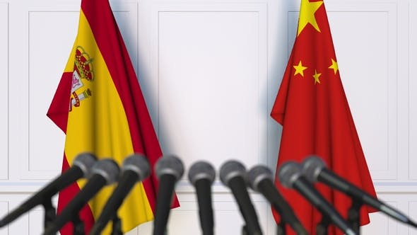 Thumbnail for Flags of Spain and China at International Press Conference