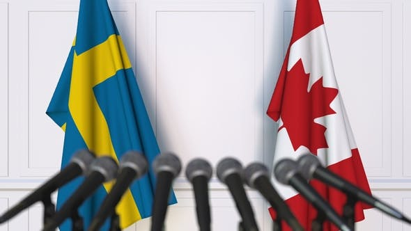 Thumbnail for Flags of Sweden and Canada at International Press Conference