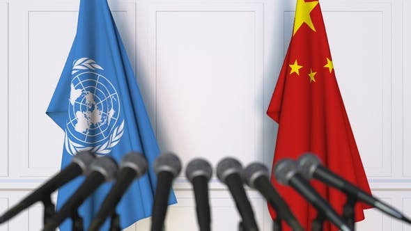 Thumbnail for Flags of the United Nations and China at International Press Conference