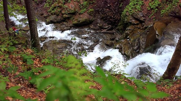 Thumbnail for Waterfall Mountain Landscape. River Flowing in Mountainous Area