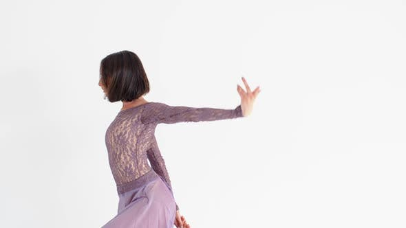 Thumbnail for Young Woman in a Purple Dress Dancing Modern Contemporary Style