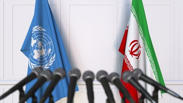 Thumbnail for Flags of the United Nations and Iran at International Press Conference