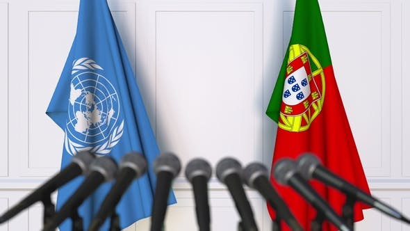 Thumbnail for Flags of the United Nations and Portugal at International Press Conference