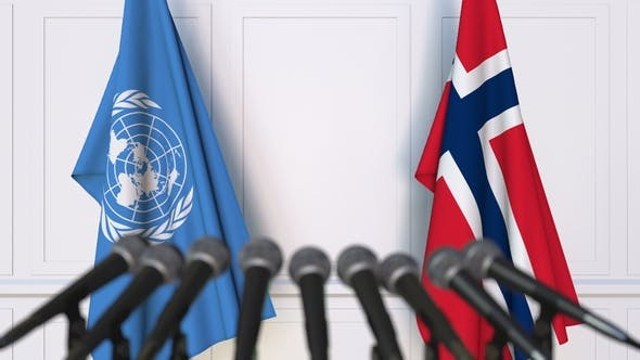 Thumbnail for Flags of the United Nations and Norway at International Press Conference