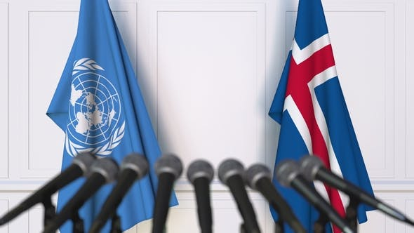 Thumbnail for Flags of the United Nations and Iceland at International Press Conference