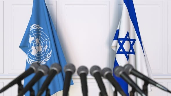 Thumbnail for Flags of the United Nations and Israel at International Press Conference