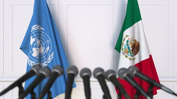 Thumbnail for Flags of the United Nations and Mexico at International Press Conference