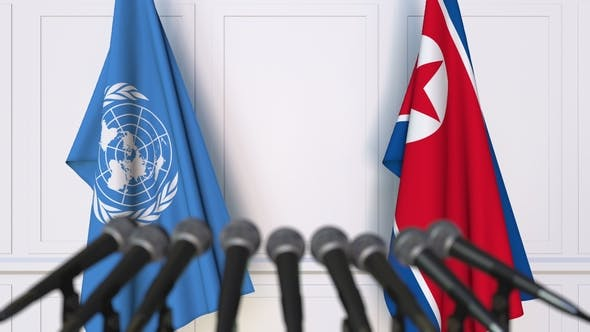 Thumbnail for Flags of the United Nations and North Korea at International Press Conference
