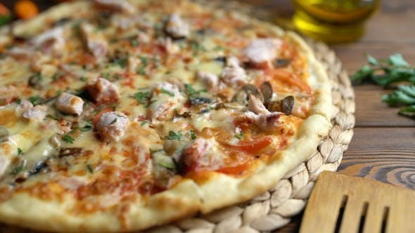 Thumbnail for Served Appetizing Pizza on the Table