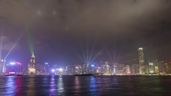 Thumbnail for Light Show In Hong Kong at Night