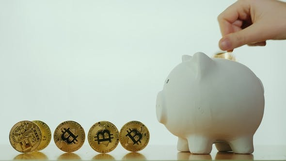 Thumbnail for The Hand Inserts Bitcoin's Coin Into the Coin Box. On a White Background